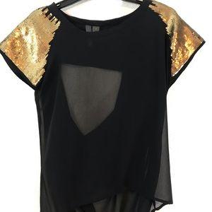 Fun & Flirt Sheer Gold Sleeve Top w/ Drape Back -M